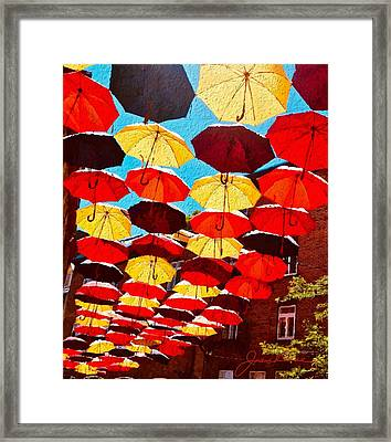 Framed Print featuring the painting Raining Umbrellas by Joan Reese