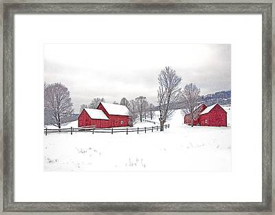 Quechee Barns In Winter Framed Print by Gordon Ripley