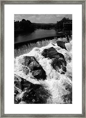 Framed Print featuring the photograph Quechee, Vermont - Falls 2 Bw by Frank Romeo