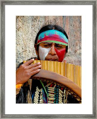 Quechuan Pan Flute Player Framed Print by Al Bourassa