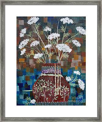 Queen Anne's Lace In Vase With Birches Framed Print by Janyce Boynton