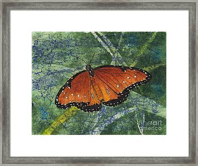 Queen Butterfly Watercolor Batik Framed Print