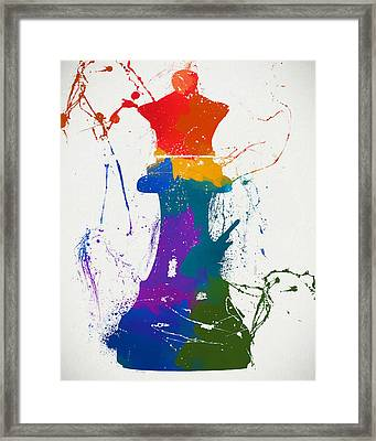 Queen Chess Piece Paint Splatter Framed Print by Dan Sproul