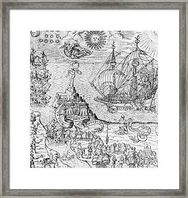 Queen Elizabeth I On Board A Ship Framed Print by English School