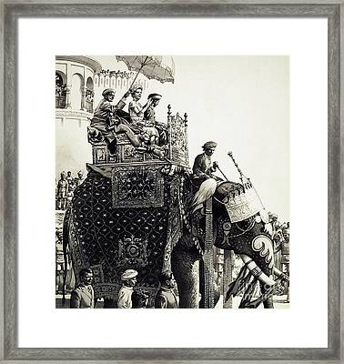 Queen Elizabeth II On An Elephant Framed Print by Pat Nicolle
