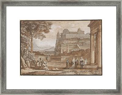 Queen Esther Approaching The Palace Of Ahasuerus Framed Print
