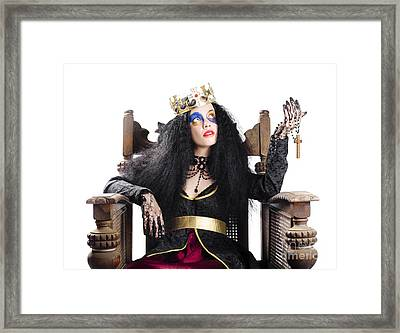 Queen Holding Christian Cross Framed Print