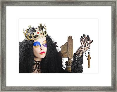 Queen Holding Cross Necklace Framed Print