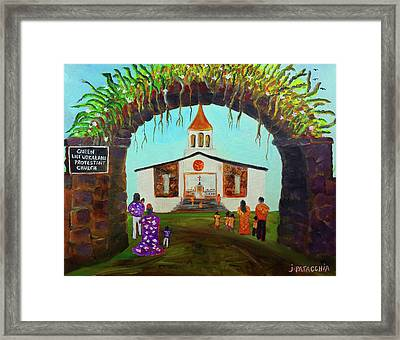 Queen Liliuokalani Protestant Church, Haleiwa Hawaii Framed Print by Julie Patacchia