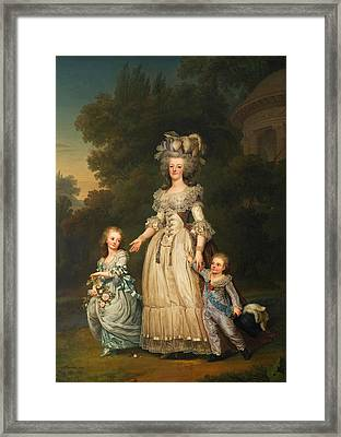 Queen Marie Antoinette Of France And Two Of Her Sons Walking In The Park Of Trianon Framed Print by Mountain Dreams