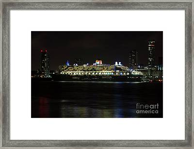 Queen Mary 2 At Night In Liverpool Framed Print