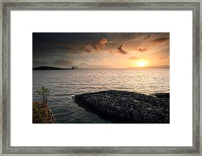 Queen Mary 2 Sunset Oban Framed Print
