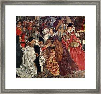Queen Mary And Princess Elizabeth Entering London Framed Print by John Byam Liston Shaw