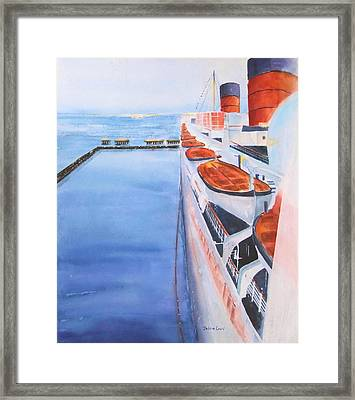 Queen Mary From The Bridge Framed Print by Debbie Lewis