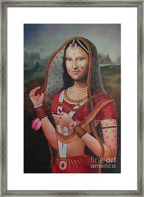 Queen Monalisa Indian Mona Lisa Handmade Painting Oil Color Canvas Artist India Framed Print