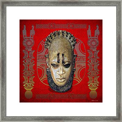 Queen Mother Idia - Ivory Hip Pendant Mask - Nigeria - Edo Peoples - Court Of Benin On Red Leather Framed Print by Serge Averbukh