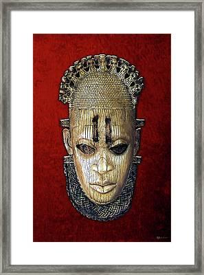 Queen Mother Idia - Ivory Hip Pendant Mask - Nigeria - Edo Peoples - Court Of Benin On Red Velvet Framed Print by Serge Averbukh