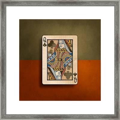 Queen Of Clubs In Wood Framed Print