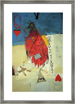 Framed Print featuring the mixed media Queen Of Hearts 40-52 by Cliff Spohn