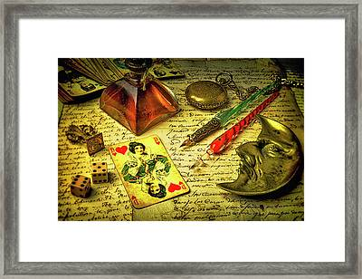Queen Of Hearts And Dice Framed Print by Garry Gay