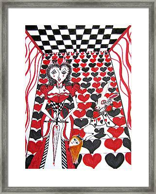 Framed Print featuring the drawing Queen Of Hearts by Barbara Giordano