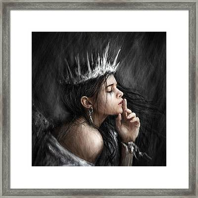 Queen Of Secrets Gothic Fantasy Portrait Painting Of A Fairy Queen Framed Print by Justin Gedak