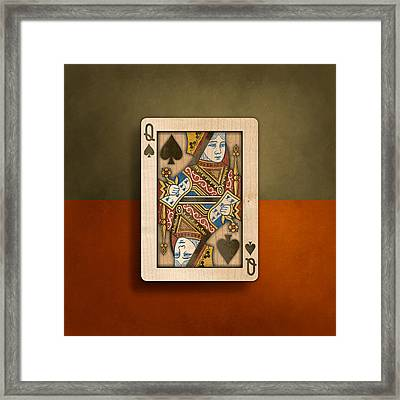 Queen Of Spades In Wood Framed Print