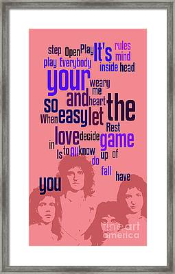 Queen. Play The Game. Can You Recognize The Song? Can You Recognize The Band? Game For Fans Framed Print
