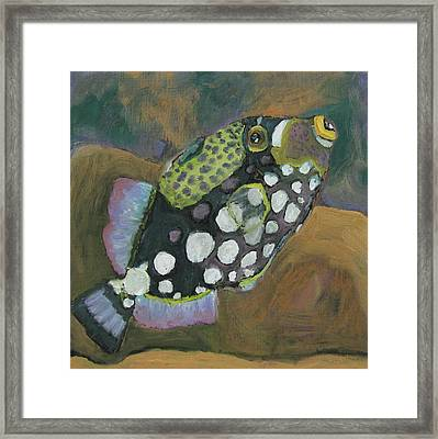 Framed Print featuring the painting Queen Trigger Fish by Susan  Spohn