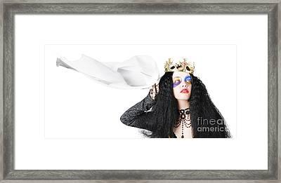 Queen Waving White Flag Framed Print