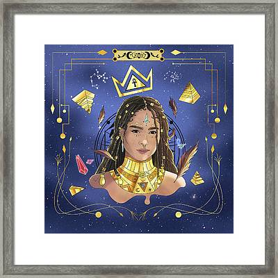 Queen Zoe Kravitz Illustration Framed Print by Kenal Louis