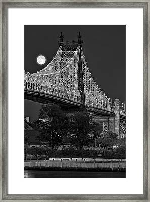 Queensboro 59 Street Bridge Full Moon Bw Framed Print