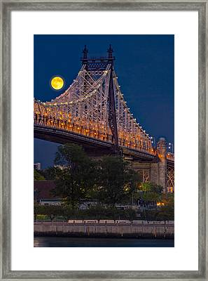 Queensboro 59 Street Bridge Full Moon Framed Print