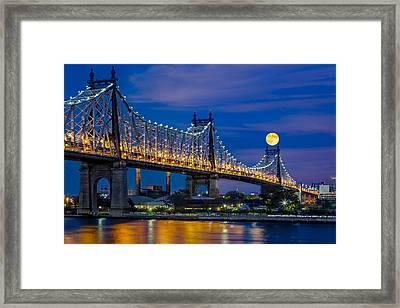 Queensboro Ed Koch Bridge Full Moon Framed Print by Susan Candelario