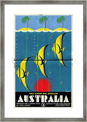 Queensland Great Barrier Reef - Vintage Poster Folded Framed Print