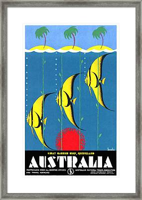 Queensland Great Barrier Reef - Restored Vintage Poster Framed Print