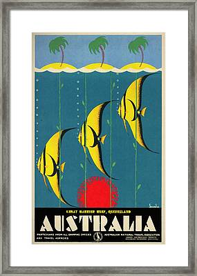 Queensland Great Barrier Reef - Vintage Poster Vintagelized Framed Print