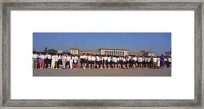 Queueing Up To View The Late Mao Zedong Framed Print by Panoramic Images