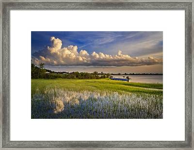 Quiet At Sunset Framed Print by Debra and Dave Vanderlaan