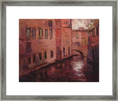 Quiet Canal In Venice IIi Framed Print by R W Goetting