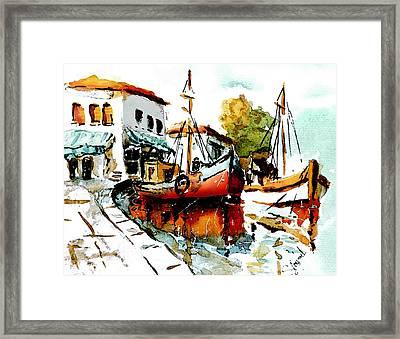 Quiet Corner On The Med Framed Print