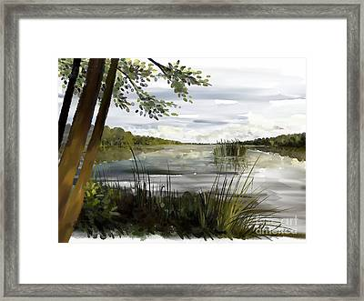 Quiet Day By Lake Framed Print
