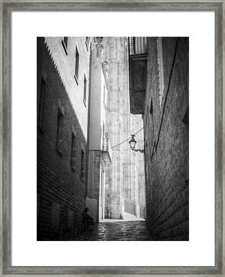 Quiet Moment Near Barcelona Cathedral, B/w Framed Print