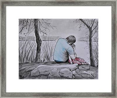 Quiet Moment With Dad Framed Print
