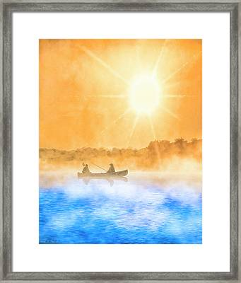 Quiet Moments - Fishing At Dawn Framed Print by Mark Tisdale