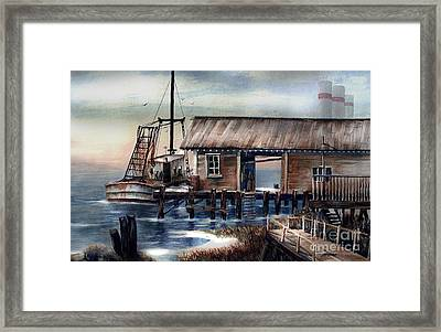 Quiet Pacific Dockside Framed Print