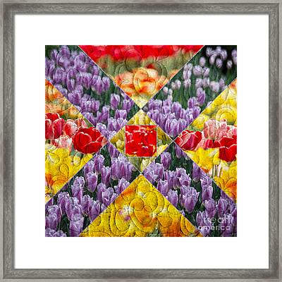 Quilt Block Flowers Framed Print by Tom Gari Gallery-Three-Photography