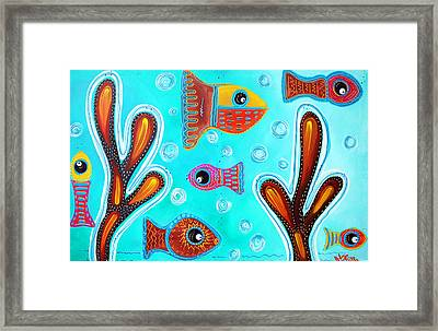 Quilted Fish Framed Print