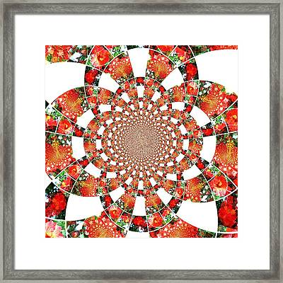 Framed Print featuring the digital art Quilted Flower by Amanda Eberly-Kudamik