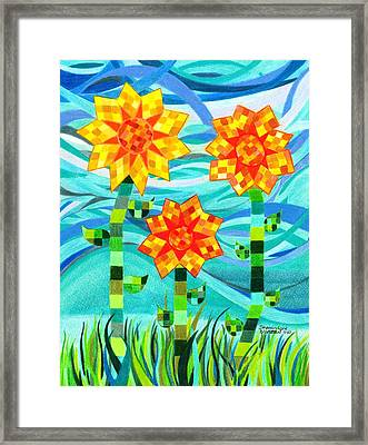 Quilted Sunflowers Framed Print